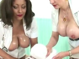 Femdom fetish mature nurses give handjob cumshot