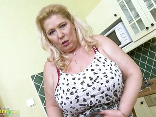 OldNannY Busty Mature Blonde Solo Play