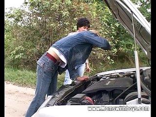 Granny Fucks The Guy Who Fixed Her Car