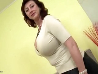 TANNED MOTHER CATCHES SON JERKING OFF TO HER VIDEO & BANGS H