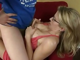 Reluctant Mom Cory Chase Sucks her Step-Son