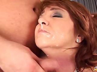 chubby curvy redhead mom enjoys her first big cock anal fucking